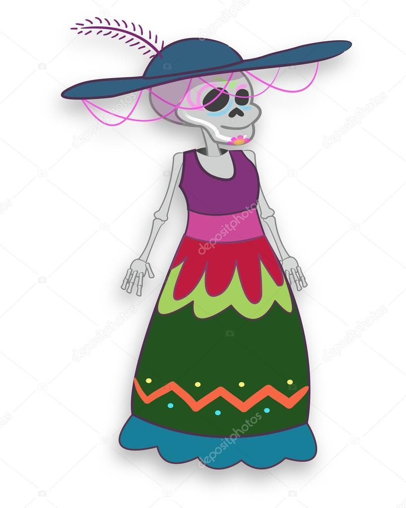 Catrina Muerte Mexicana De Dibujos Animados Archivo Imágenes