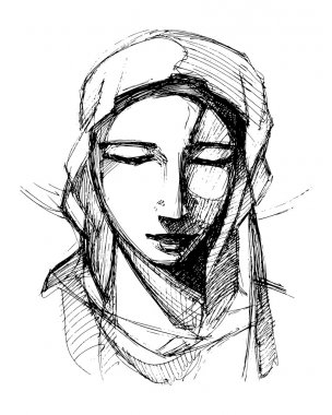 Virgin Mary praying, sketch drawing