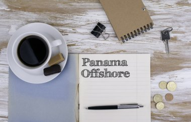 Copybook on the desktop. Panama Offshore