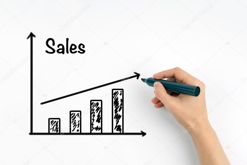 Hand with marker writing sales growth graph — Stock Photo © tumsasedgars #123006184