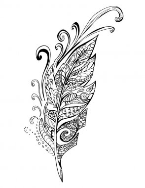 Doodle feather birds, vector illustration