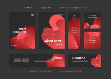 Set of collection template corporate identity design with modern abstract shape template layouts, include leaflet, brochure, banner, social media template for various purpose advertising, vector. icon
