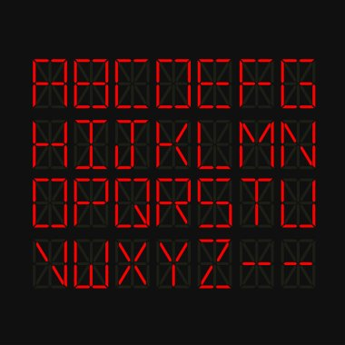 Set of alphabet letters on LED screen