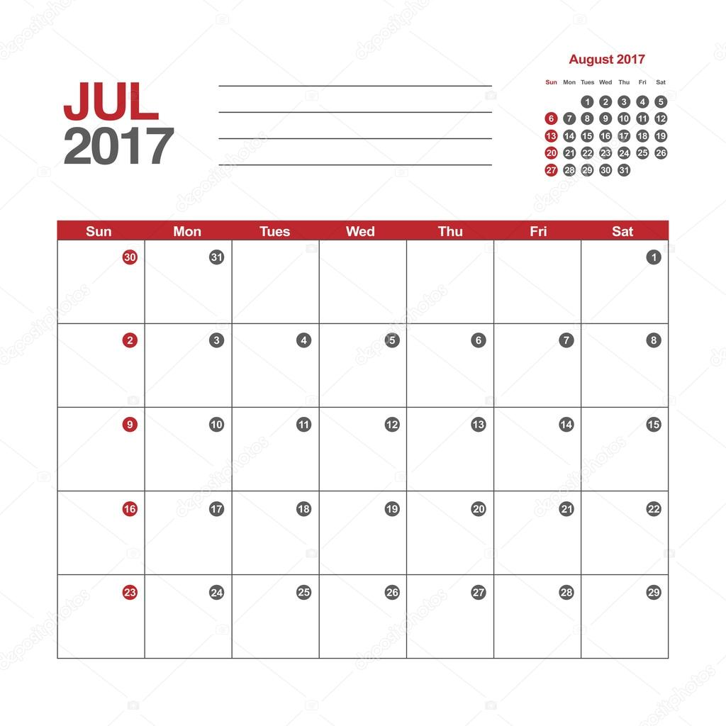 plantilla de calendario de julio de 2017 — Vector de stock ...