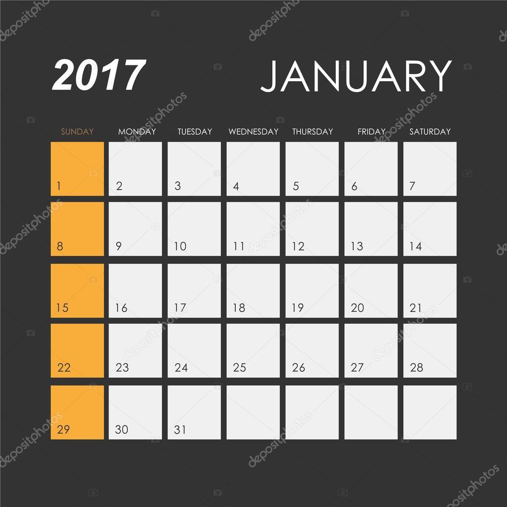 Mod le de calendrier janvier 2017 image vectorielle esbeauda 109962032 - Date des soldes de janvier 2017 ...