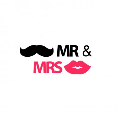 Mr. and Mrs. with mustache and lips