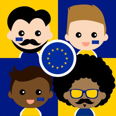 Group of happy supporters of European Union