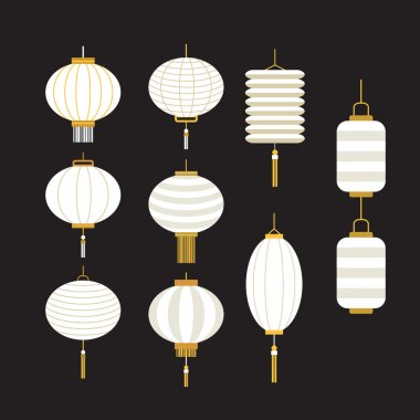 Collection of white Chinese lanterns