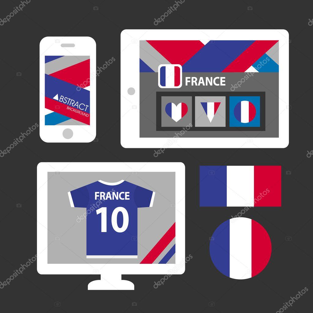 Conjunto de fondo de patrón y bandera de Francia — Archivo Imágenes ...