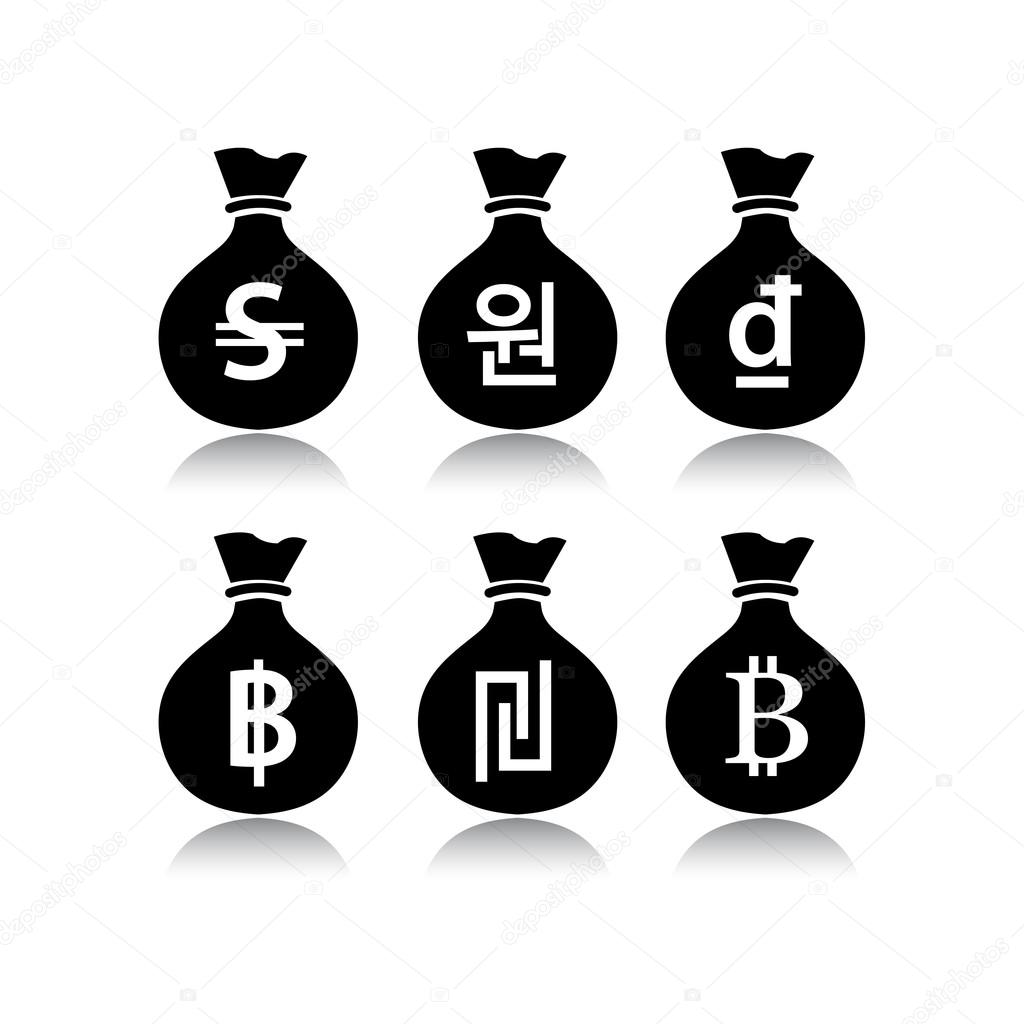 Set of money bags in white background