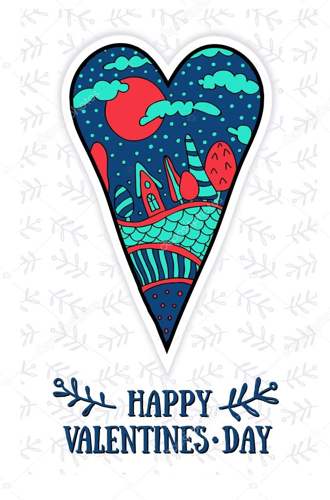 Happy Valentine's day card with heart and scenery of the houses and trees in the background of green hearts vector