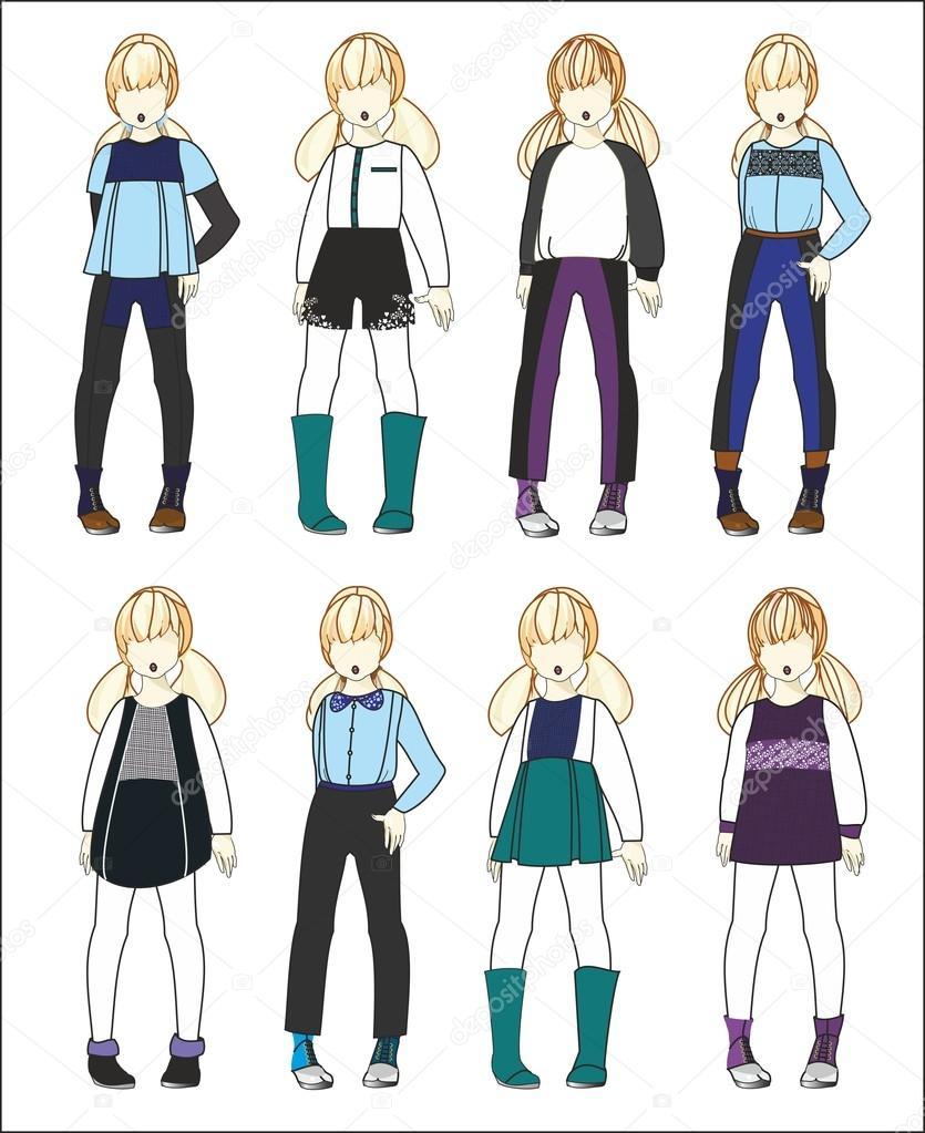 Stylized Children Baby Clothes Girls Stock Vector C Aspekt 13