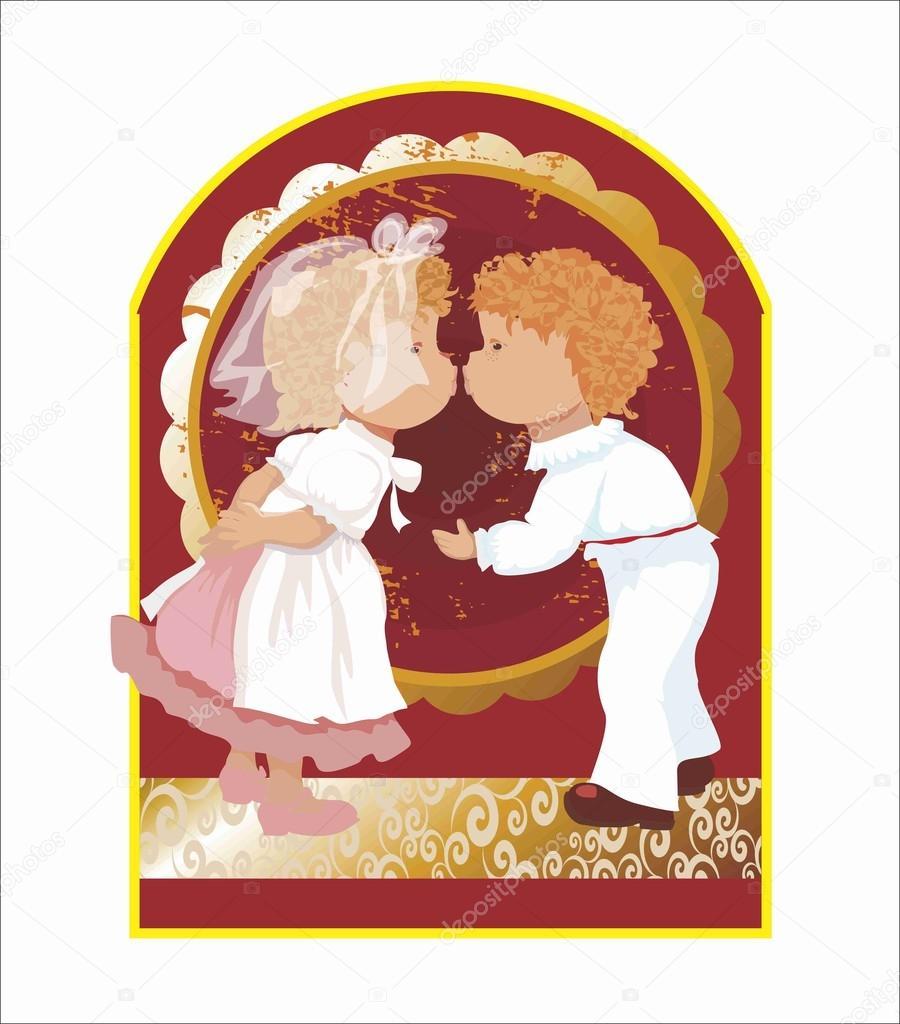 Kinder Anzüge, Hochzeit Bogen, Gemälde, Vektor, Zeichnung, Menschen ...