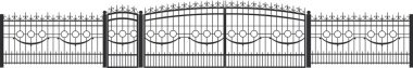 fence, shutters, doors, gates, forging, forge, wrought-iron fence, forged products, vector drawing, monograms, curls, spikes, circles, rods, poles, iron, torsion wave, balls,