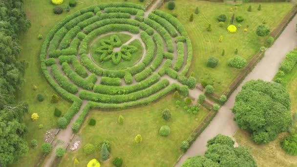 Topiary garden view from drone