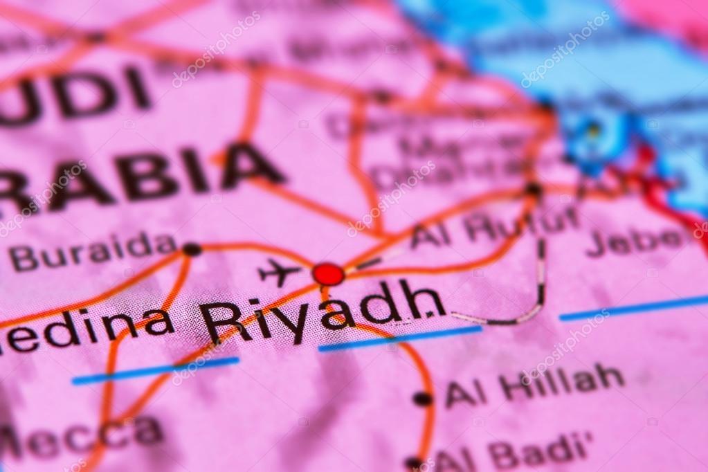 Riyadh Capital City of Saudi Arabia on the Map Stock Photo