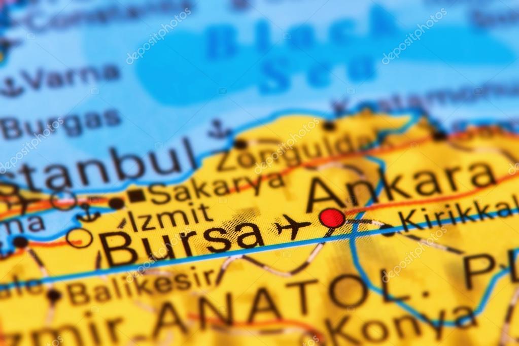 Bursa City in Turkey on the Map Stock Photo outchill 106301998