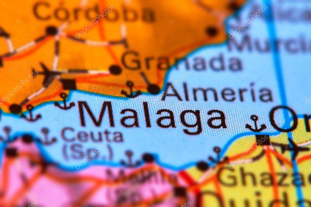Malaga Karte Spanien.Malaga Stadt In Spanien Auf Der Karte Stockfoto