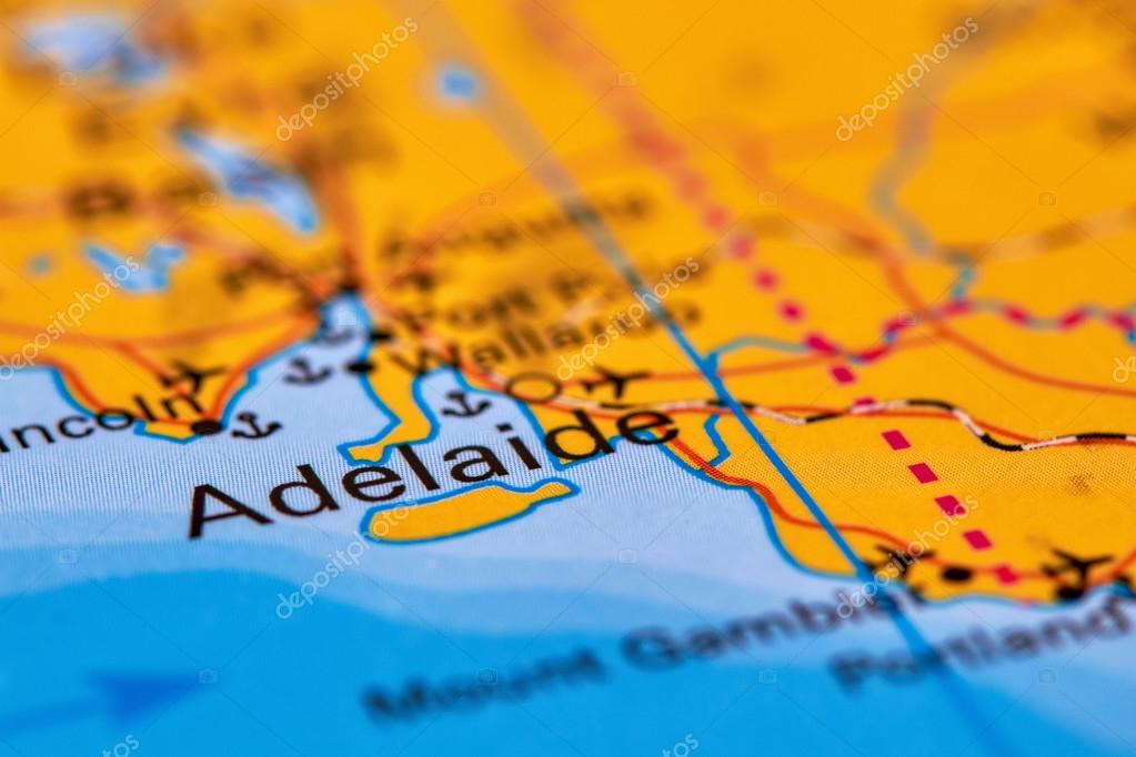 City Of Adelaide Australia On The Map Stock Photo C Outchill