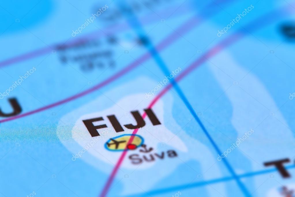 Isla De Fiji En El Mapa Foto De Stock C Outchill 106302440