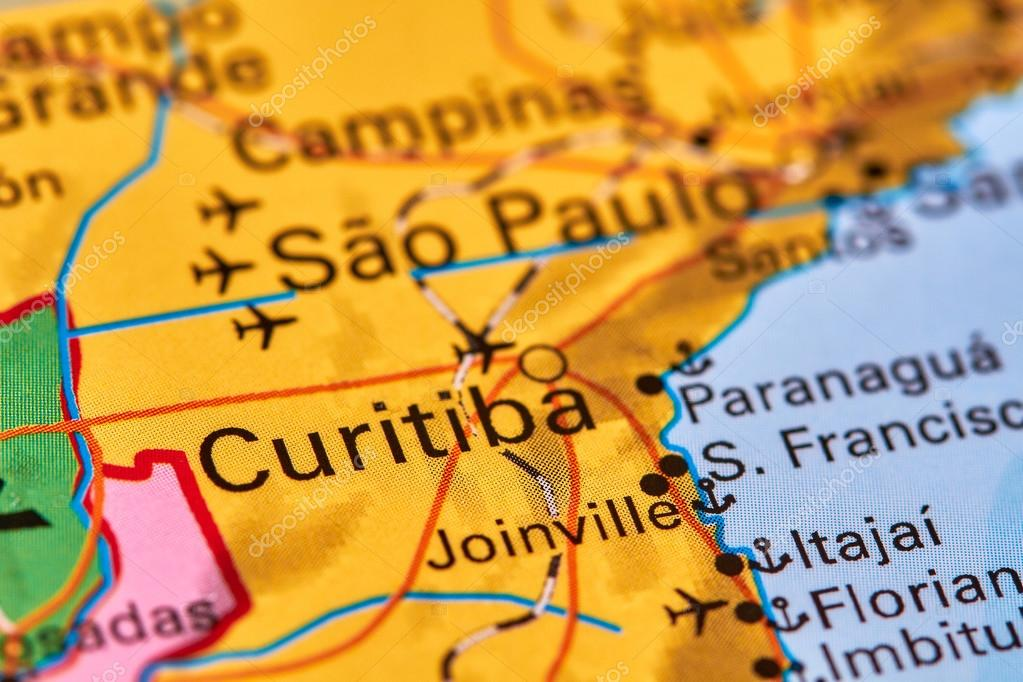 Curitiba on the map stock photo outchill 107395558 curitiba city in brazil on the world map photo by outchill gumiabroncs Images