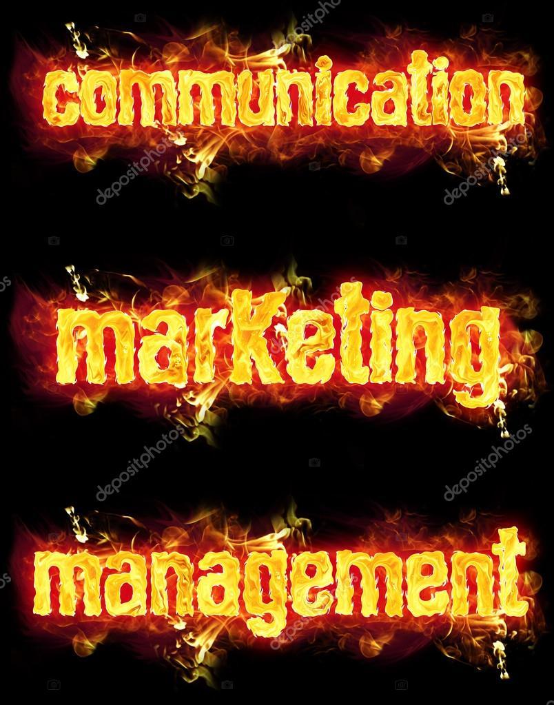 fire text communication marketing management stock photo