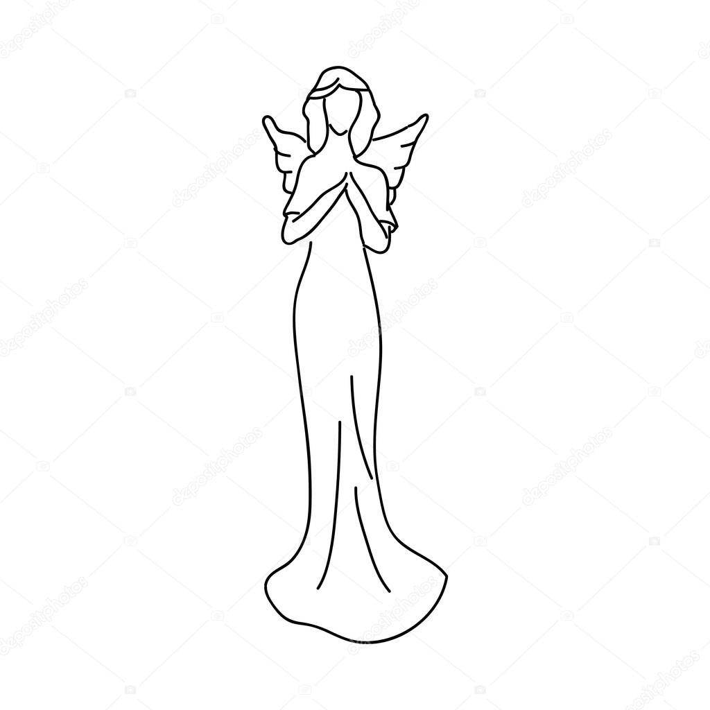 天使の翼を持つ女性の姿の簡単なスケッチ ストックベクター