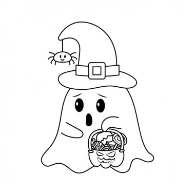 Vector illustration of Little Ghost with Halloween Candy Bucket  in sketch style, coloring book icon