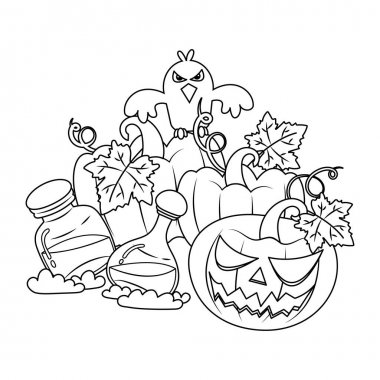Vector illustration of Halloween Pumpkins and Crow  in sketch style, coloring book icon
