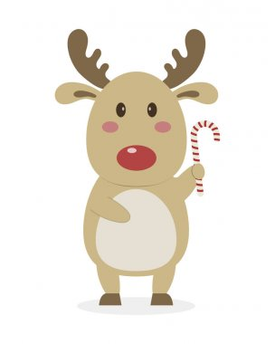 Christmas reindeer icon over white background. vector illustration icon