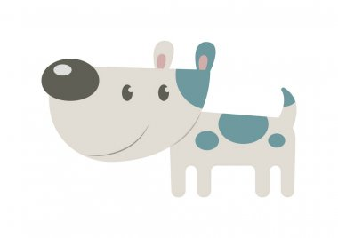 Cute cartoon Doggy with shadow on white background icon