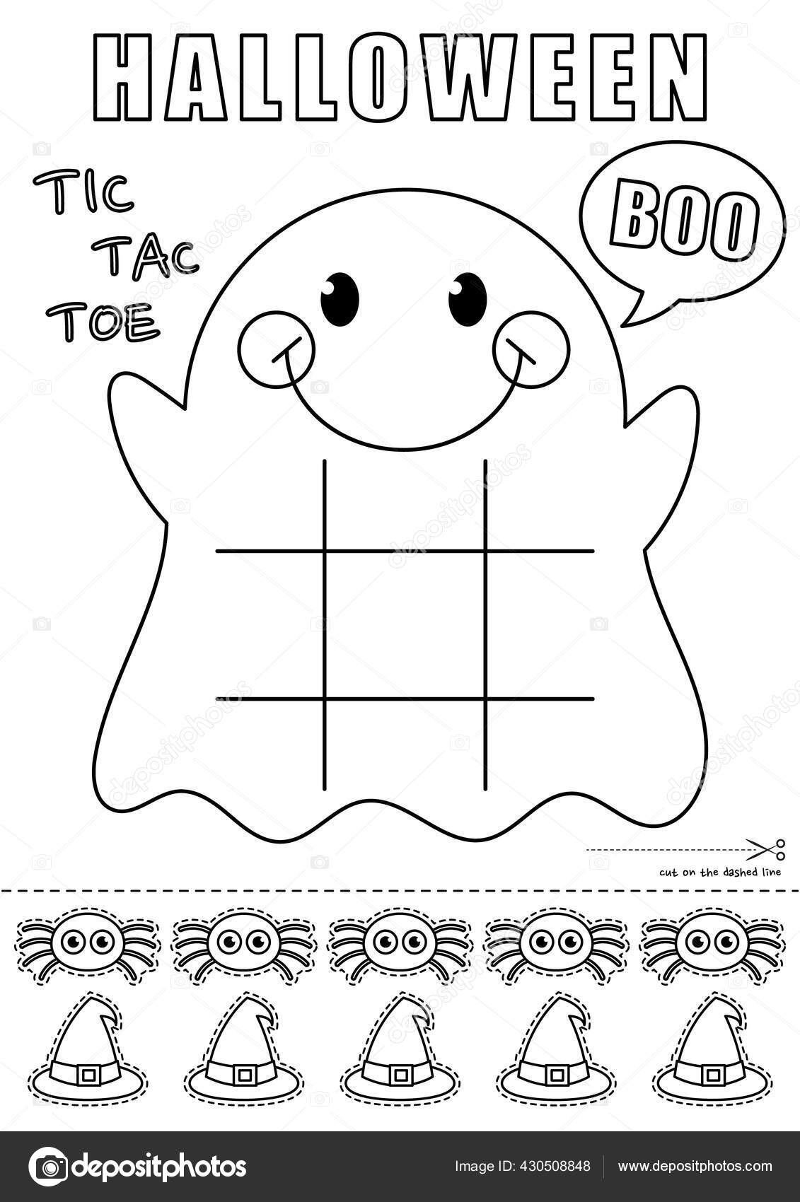 Vector Illustration Halloween Ghost Tic Tac Toe Printable Game Within Tic Tac Toe Template Word