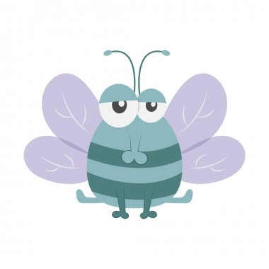 Cute cartoon Fly on a white background icon