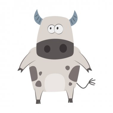 Cute cartoon cow on a white background icon