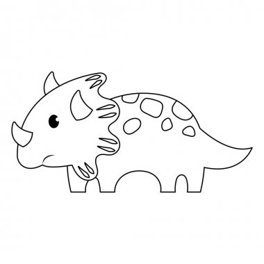 Cute cartoon Dinosaur  on a white background icon