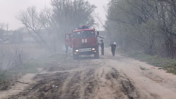 URYUPINSK. RUSSIA - APRIL 13, 2016. Fire hose from dragging heavy fire engine