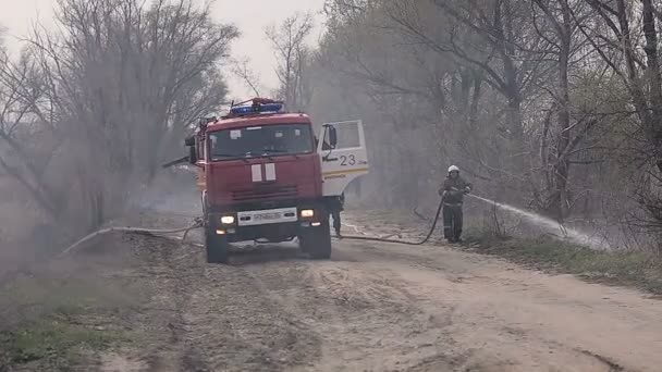 URYUPINSK. RUSSIA - APRIL 13, 2016. Firefighters extinguish a large fire