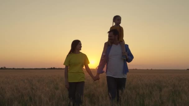 A family of farmers. Child on shoulders of dad, happy childhood. Happy family walk in wheat field at sunset. Parents and cute baby are walking together. Mom, dad daughter walk holding hands in park.