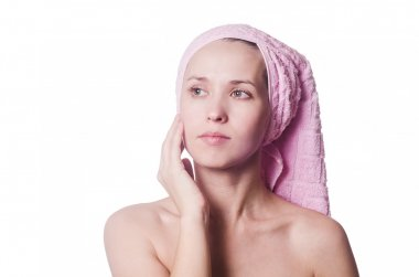 The woman with a towel on the head