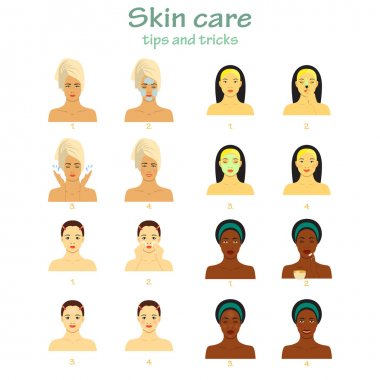 Icon set for skincare infographic. Young women showing four steps face care. Different skin tones.