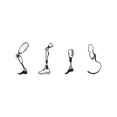 Prosthetic leg icon set. Modern Exoskeleton Prosthetic leg mechanism.