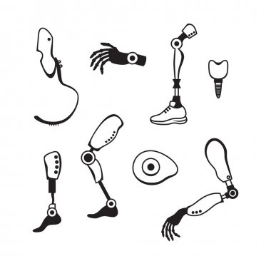 Prosthetic limbs flat icons. Modern Exoskeleton Prosthetic mechanism. Cyber prosthesis.