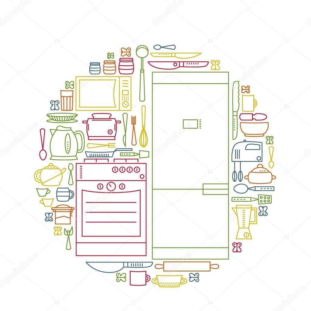 Conjunto de iconos planos de utensilios de cocina, herramientas y ...