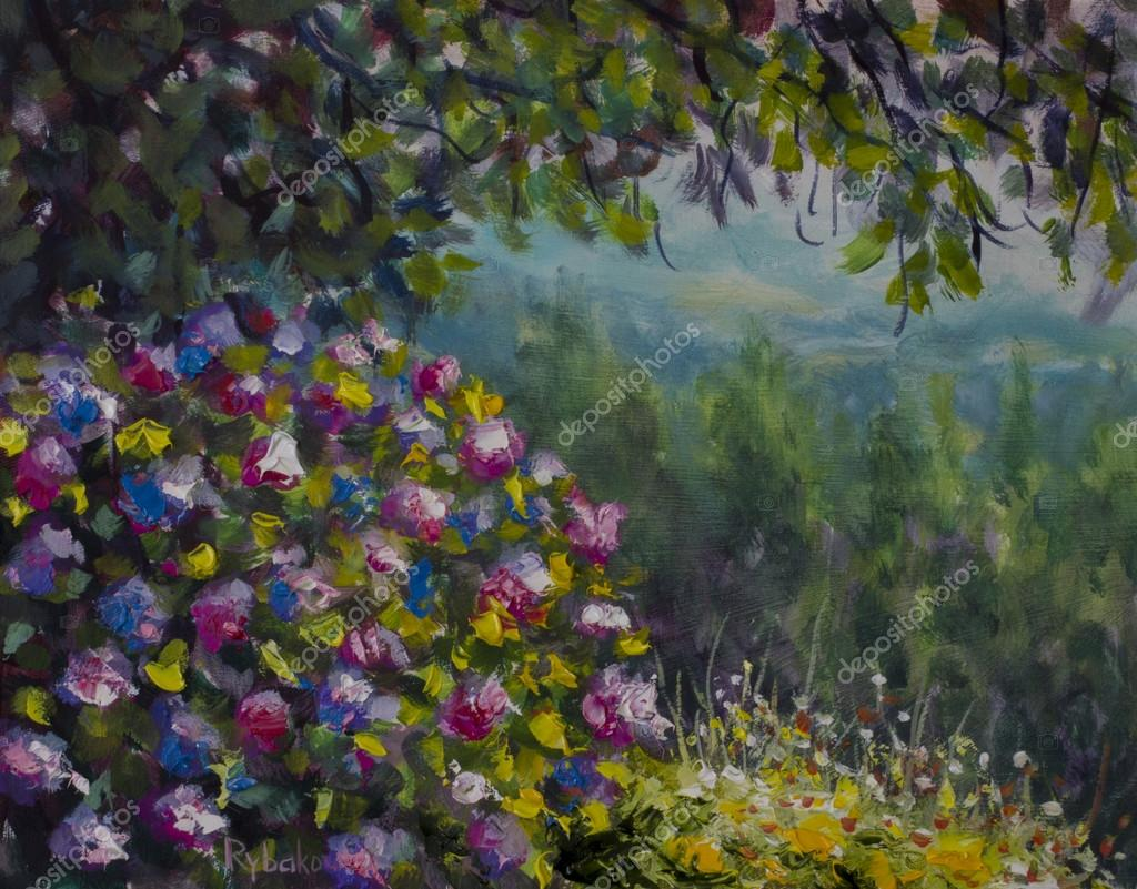 Beautiful shrub of lush colorful flowers. Green forest and mountains. Oil painting art.
