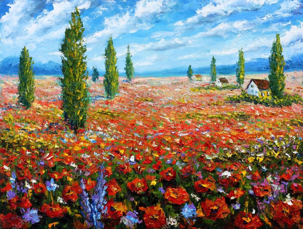 Flower painting field of red poppies original oil painting of original oil painting of flowers beautiful field flowers on canvaseld red flowers modern impressionismpasto artwork rural landscape warm flowers izmirmasajfo