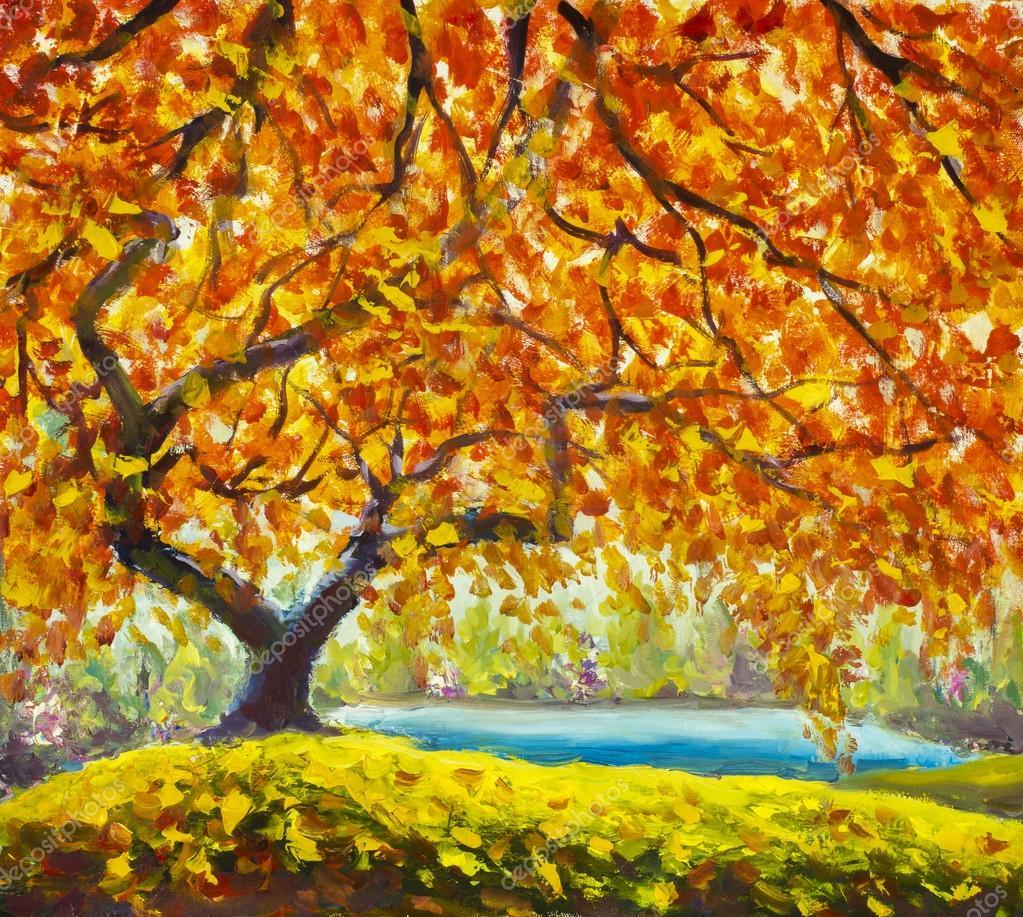Arbre automne pr s de l eau paysage d automne de la peinture l huile photographie weris7554 - Dessin d arbre en automne ...