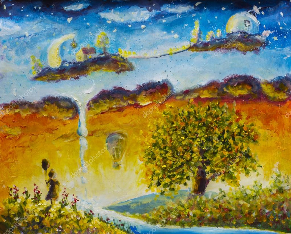 Magic Land Fabulous home on clouds. Little girl with ball. Big tree.  oil painting