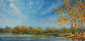 Originální olejomalby See, krásné podzimní stromy v rybníku na plátně. Podzim na rybníku. Impresionismus.