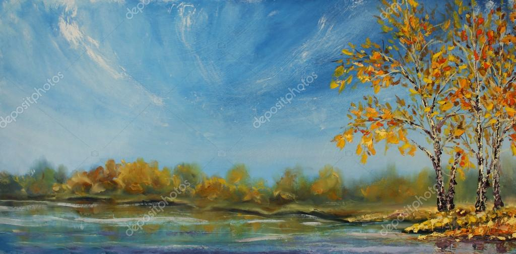Original oil painting of see, beautiful autumn trees in the pond on canvas. Autumn on the pond. Impressionism.