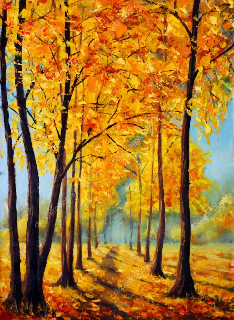 Original oil painting beautiful autumn park on canvas. Autumn harmony.